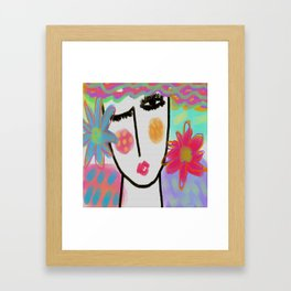 Woman with Flowers Abstract Digital Painting Framed Art Print