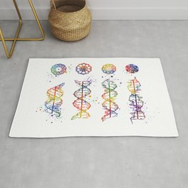 DNA Helix A-B-C-Z Medical Art Prints Genetic Doctor Gift Biology Poster DNA Print Watercolor Print Rug