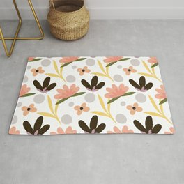 Colorful floral Cut Out Flowers and Leaves fabric White II Rug