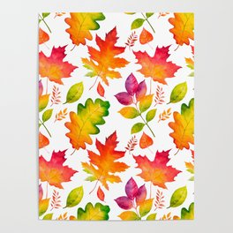 Fall Leaves Watercolor - White Poster