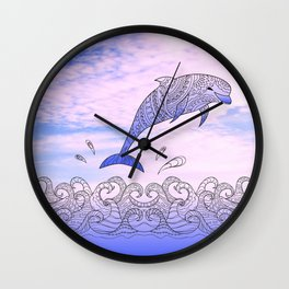 dolfin above the waves Wall Clock