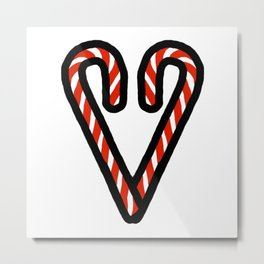 Candy Cane Heart Metal Print