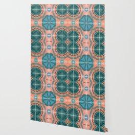Portuguese Tiles Azulejos Blue Red Pattern Wallpaper