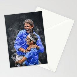 Roger Federer and Rafa Nadal. Digital artwork print. Tennis and Fedal fan art gift. Stationery Cards