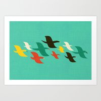 Birds are flying Art Print