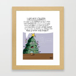 Angry Christmas Tree - funny holiday card Framed Art Print