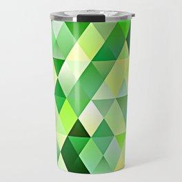 Lime Green Yellow White Diamond Triangles Mosaic Pattern Travel Mug