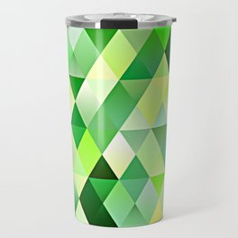 Lime Green Yellow White Diamond Triangles Mosaic Pattern Travel Mug