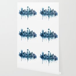 Seattle Skyline monochrome watercolor Wallpaper