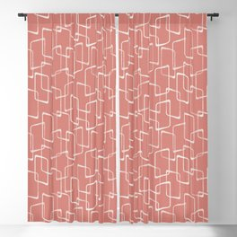 Retro Salmon Pink Geometric Pattern Blackout Curtain