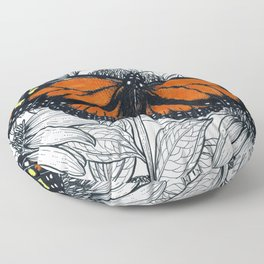 Monarch butterfly on coneflowers  Floor Pillow