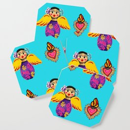 Angels and Hearts Turquoise Coaster