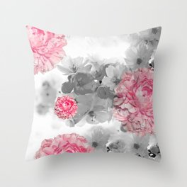 ROSES PINK WITH CHERRY BLOSSOMS Throw Pillow