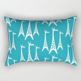 Mid Century Modern Giraffe Pattern 221 Turquoise Rectangular Pillow