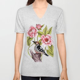 Woodpecker & Peonies - Floral/Bird Design Unisex V-Neck