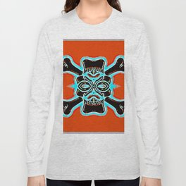 black vintage skull and bone graffiti drawing with blue and red background Long Sleeve T-shirt