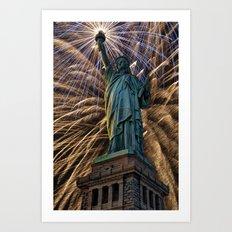 Liberty Fireworks Art Print