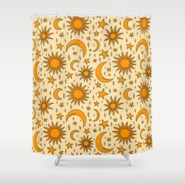 Vintage Sun and Star Print Shower Curtain