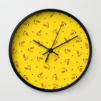 cigarettes Wall Clocks featuring Summer and Cigarettes by Anjana