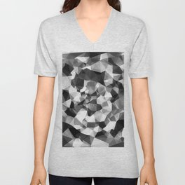 contemporary geometric polygon abstract pattern in black and white Unisex V-Neck