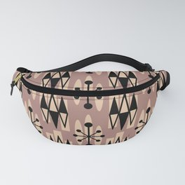 Retro Mid Century Modern Atomic Triangles 731 Beige and Black Fanny Pack