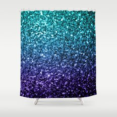 Beautiful Aqua blue Ombre glitter sparkles Shower Curtain