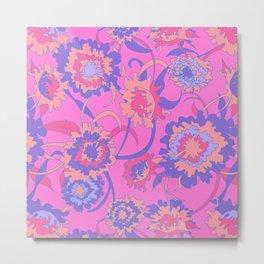Bold Tropical Floral in Neon Pink + Purple Metal Print