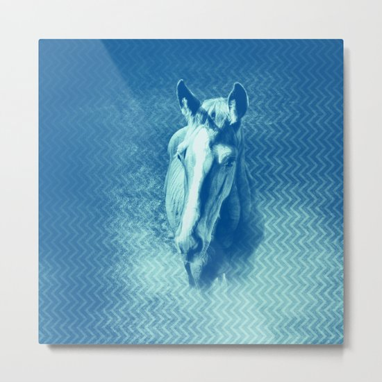 Horse emerging from the blue mist Metal Print