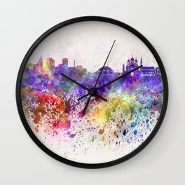 Tallinn skyline in watercolor background Wall Clock