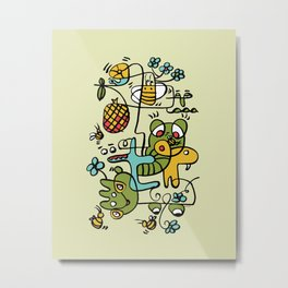 The Buzzz Doodle Monster World by Pablo Rodriguez (Pabzoide) Metal Print