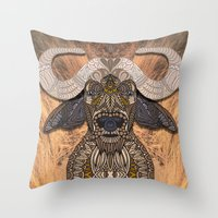 african Throw Pillows featuring African Buffalo by ArtLovePassion