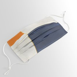 Orange, Blue And White With Golden Lines Abstract Painting Face Mask