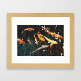 Geometric Koi Fishes Framed Art Print