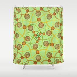 Spiral Round Green Shower Curtain