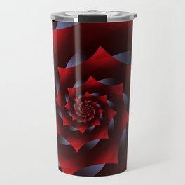 Glowing Red and Blue Dark Spiral Fractal  Travel Mug