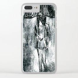 Umbrella Sketch Clear iPhone Case