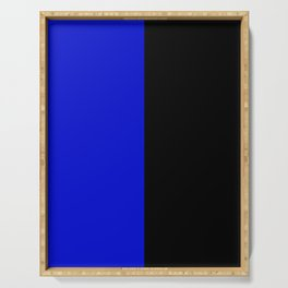 Psychedelic black and blue stripes V. Serving Tray