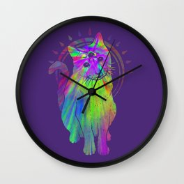 Psychedelic Psychic Cat Wall Clock