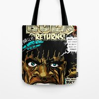returns Tote Bags featuring BUCK RETURNS by BlackKirby1