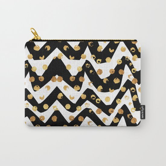 Gold Glory | Gold Foil Pattern, Black White Geometric Pattern, Mosaic Pattern, Gold Seamless Pattern Carry-All Pouch