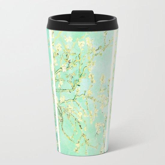 Vincent Van Gogh Almond Blossoms Panel art Aqua Green Metal Travel Mug
