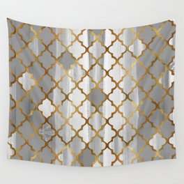 Moroccan Tile Pattern In Grey And Gold Wall Tapestry