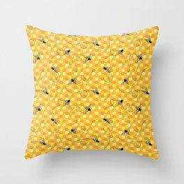 Bees on Honeycomb Pattern Throw Pillow