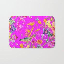 Bold Summer Print on Magenta Pink Bath Mat