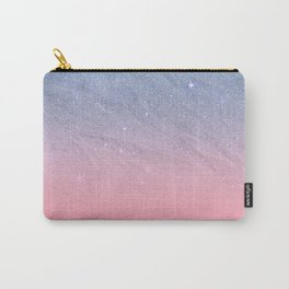 Modern blush coral pink pastel blue elegant faux glitter Carry-All Pouch