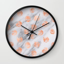 Roses Rose Gold Pink Marble Rose Pattern Wall Clock