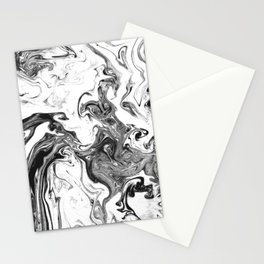 Suminagashi 1 black and white marble spilled ink ocean swirl watercolor painting Stationery Cards