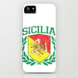 SICILY - Sicilia Flag and Shield Trinacria - Sicilian Flag iPhone Case