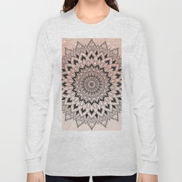 Boho black watercolor floral mandala rose gold glitter ombre pastel blush pink Long Sleeve T-shirt