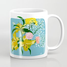 Flowers on Blue Coffee Mug